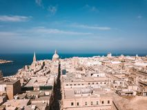 Aerial panoramic view of the Valletta old town on Malta. Beautiful ancient city Stock Photo