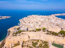 Aerial panoramic view of the Valletta old town on Malta. Beautiful ancient city Stock Images