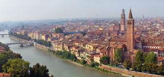Aerial panoramic view of Verona city Royalty Free Stock Images