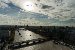 Aerial panoramic view of West London in late October Royalty Free Stock Image