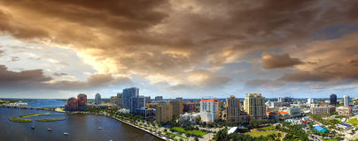 Aerial panoramic view of West Palm Beach, Florida. Sunset skyline.  royalty free stock images