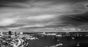 Aerial panoramic view of West Palm Beach, Florida. Sunset skylin Stock Image