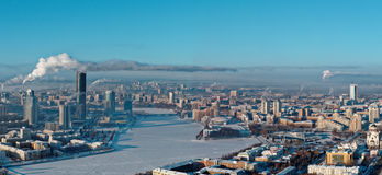 Aerial panoramic view of Yekaterinburg, Russia Royalty Free Stock Photos