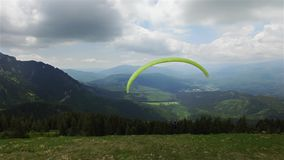 Aerial Paragliding over Mountains and Valleys stock video