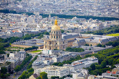Aerial Paris skyline and Invalides Royalty Free Stock Images
