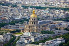 Aerial Paris skyline and Invalides Royalty Free Stock Photos