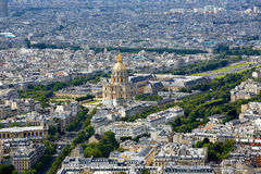 Aerial Paris skyline and Invalides France Royalty Free Stock Image