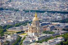 Aerial Paris skyline and Invalides France Royalty Free Stock Images