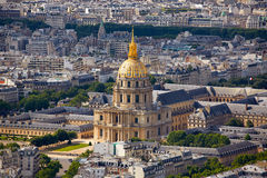 Aerial Paris skyline and Invalides France Stock Image