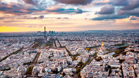 Aerial Paris view in late autumn from Montparnasse Tower at sunset. Royalty Free Stock Photo