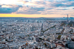Aerial Paris view in late autumn from Montparnasse Tower at sunset. Stock Photo