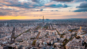 Aerial Paris view in late autumn from Montparnasse Tower at sunset. Royalty Free Stock Image