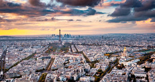 Aerial Paris view in late autumn from Montparnasse Tower at sunset. Stock Photography