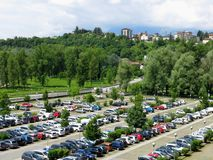 Aerial Parking Lot Outdoors. Vehicles green park Stock Photography