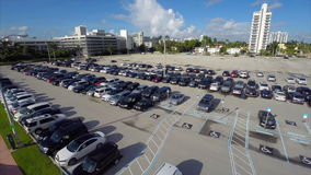 Aerial parking lot stock video