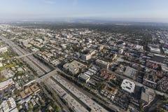 Aerial Pasadena 210 Freeway in California. Aerial view of downtown Pasadena and the 210 freeway near Los Angeles, California Royalty Free Stock Image