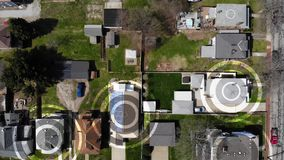 Aerial of Pennsylvania Neighborhood with WiFi Hotspot Marker Targets. An aerial bird`s eye view establishing shot of a typical Pennsylvania residential stock video