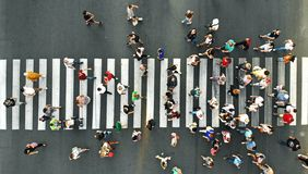 Free Aerial. People Crowd. Many People Going Through The Pedestrian Crosswalk. Stock Photos - 158219983