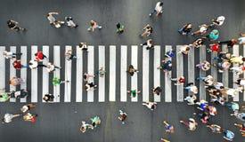 Free Aerial. People Crowd Motion On Pedestrian Crosswalk. Top View Royalty Free Stock Image - 158219886