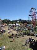 Aerial of people enjoy Amusement Park Rides at the Marin County Royalty Free Stock Images