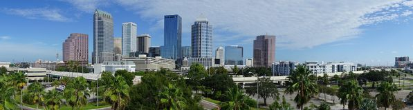 Urban Panoramic Downtwon City Skyline of Tampa Florida. An aerial perspective on a beautiful sunny summer day in Tampa Florida downtown royalty free stock image