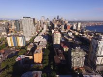 Aerial Perspective Downtown Urban Core Seattle Washington Mt Rainier stock images