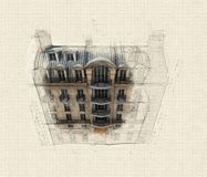 Aerial perspective of Parisian building royalty free illustration