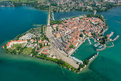 Aerial perspective of peninsula Lindau with port and Marina. In summer Stock Photos