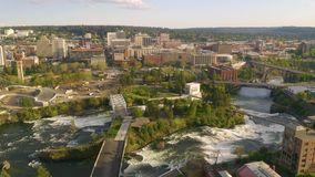 Riverfront Park and Falls in the Downtown Urban Center of Spokane Washington. Aerial perspective of the recreational themed north side of downtown Spokane stock video