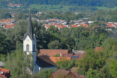 Aerial perspective on a small village and church Stock Photo