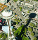 Aerial Perspective of Space Needle and Shadow. Aerial view of Space Needle, EMP and Monorail at Seattle Center Stock Images