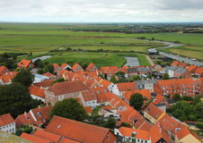 Aerial Perspective of Urban Settlement with Green Fields Stock Photography