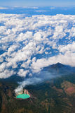 Aerial photo of active volcano Ijen in East Java Royalty Free Stock Images