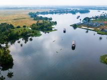 Aerial photo of Alappuzha India. Birds eye view photo of Alappuzha, India Stock Photo