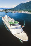 Aerial photo of Alaska cruise ship in Sitka Royalty Free Stock Photo