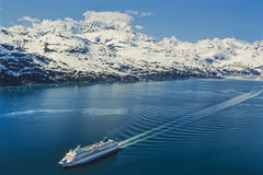 Aerial photo of Alaska Glacier Bay with cruise ship Stock Photography
