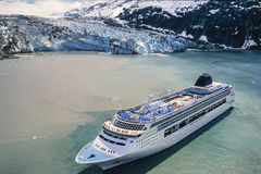 Aerial photo of Alaska Glacier Bay with cruise ship Royalty Free Stock Images