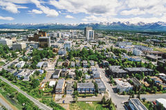 Aerial photo of Anchorage Alaska stock photography