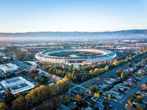 Aerial photo of Apple new campus under construction in Cupetino. Cupertino, CA, USA - December 13, 2017: Aerial photo of Apple new campus building Royalty Free Stock Photo
