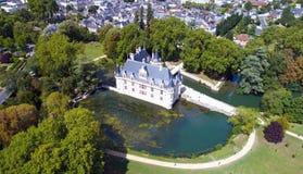 Aerial photo of azay le Rideau castle Stock Photography