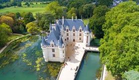 Aerial photo of Azay le Rideau castle Royalty Free Stock Photography