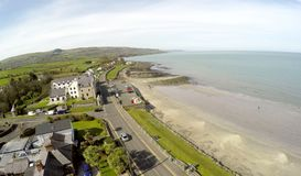 Aerial photo of Ballygally beach Co. Antrim. N.I stock image