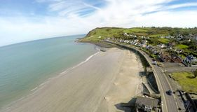 Aerial photo of Ballygally beach Co. Antrim. N.I royalty free stock photography