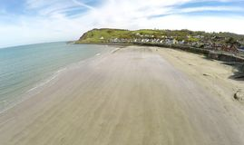 Aerial photo of Ballygally beach Co. Antrim. N.I stock photos