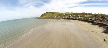 Aerial photo of Ballygally beach Co. Antrim. N.I royalty free stock photos