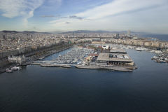 Aerial photo Barcelona port Stock Images