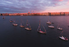 Aerial photo of bay with floating sailing yacht fleet in marina during yachting regatta race Stock Image