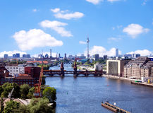 Aerial photo berlin skyline Stock Images