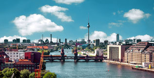 Aerial photo berlin skyline Royalty Free Stock Images