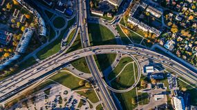 Aerial Photo of Buildings and Roads Royalty Free Stock Photography